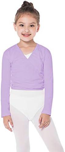 Bezioner Dance Wrap Top Ballet Katoen Crossover Vest Lange Mouw voor Meisjes Womens