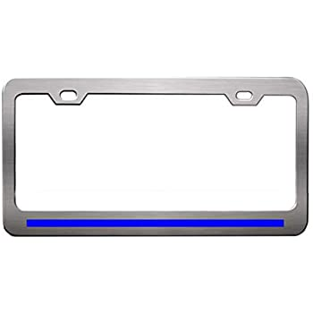 CHROME PLASTIC SUPPORT LAW ENFORCEMENT THIN BLUE LINE License Plate Frame