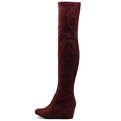 Ollio Women's Shoe Stretch Faux Suede Thigh High Covered Wedge Heel Long Boots TWB01023(7.5 B(M) US, Wine)