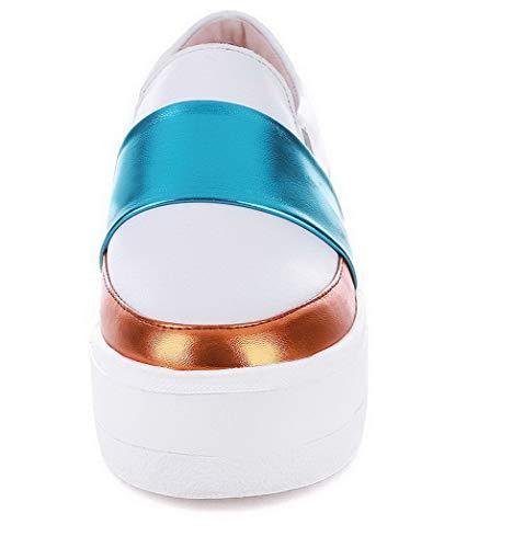 Flats GMMDB006474 Bianco Punta Medio Ballet AgooLar Colore Donna Tacco Assortito Chiusa 8vOAq