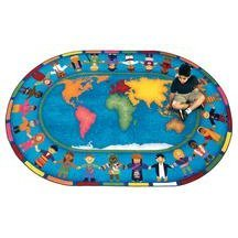 Joy Carpets Kid Essentials Early Childhood Hands Around The World Rug, Multicolored, 5'4'' x 7'8'' by Joy Carpets