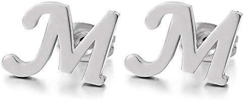 2pcs Stainless Steel Alphabet Letter Name Initial A Stud Earrings for Men Women Boys Girls