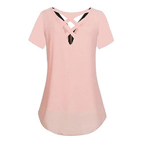 Unterhemd Vorne Reißverschluss Rosa Sommer Hemdbluse Weste shirt Rovinci Tops Bluse Chiffon T Ärmellos Elegant Damen aushöhlen T Shirt Tank Ausschnitt zurück V Unregelmäßigkeit Frauen 1qqZRw0Yx