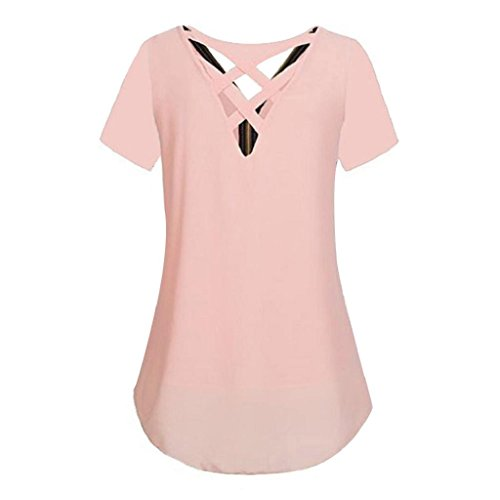 Reißverschluss T Tank Unregelmäßigkeit shirt Hemdbluse V Damen Chiffon Rosa Vorne aushöhlen Tops Ärmellos Bluse Shirt Rovinci Sommer zurück Elegant Ausschnitt Frauen T Weste Unterhemd vC7Yqww