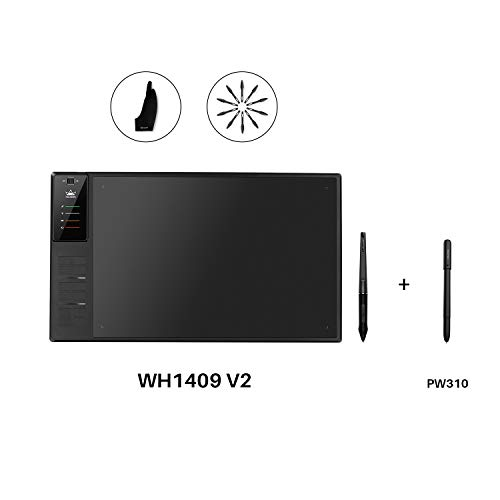 Huion Inspiroy WH1409 V2 Wireless Digital Graphic Drawing Tablet Tilt Function Battery-Free Stylus with PW500 and Huion Scribo PW310
