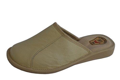 Natleat Slippers womens slippers 59 - Zapatillas de estar por casa de Piel para mujer Amarillo - crema