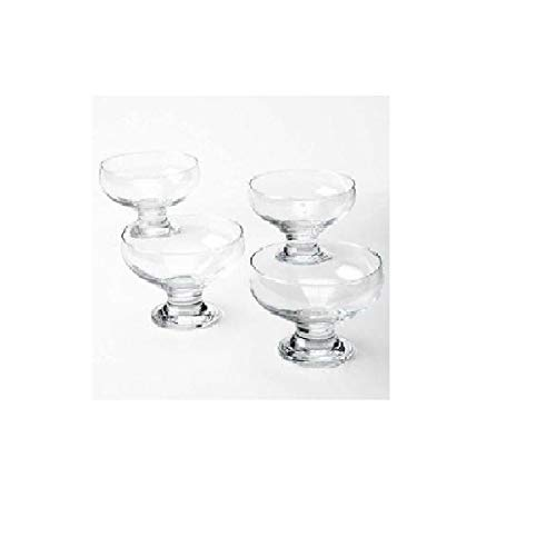 Home Essentials 4 Piece Set Essentials Home Footed Glass Dessert Dishes Bowls, Clear