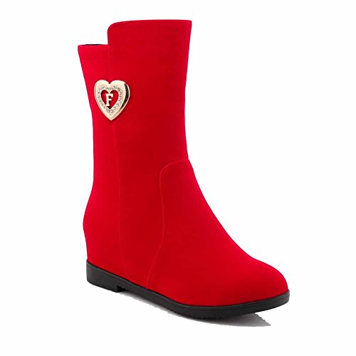 Suede Solid Red Women's Boots Allhqfashion Heels Zipper Imitated Kitten Mid Top Yw461Xqfx