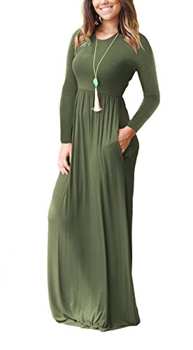 Casual Women Loose Plain Army Dresses Long Long Pockets with Green Dresses Maxi Sleeve AUSELILY 0qgSdnww