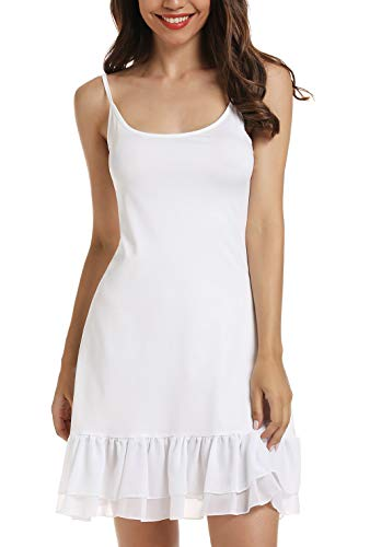 Chiffon Ruffle Camisole Dress Extender for Women Under Adjustable Spaghetti Strap Lace Cami (White, XXL)