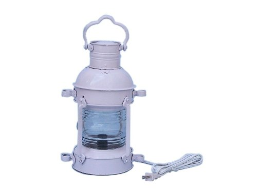 Anchor Electric Lantern Size: 15″ H x 6″ W x 8″ D, Finish: White