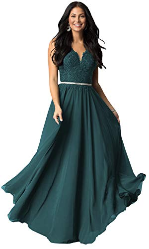 Women's V Neck Lace Bodice Chiffon Prom Dress Long Formal Evening Gown with Belt (Teal,16)