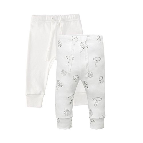 Owlivia Organic Cotton Baby Boy Girl 2-Pack Wiggle Pant Jogging Pant (Mushroom & Off-White, 12-18Months)