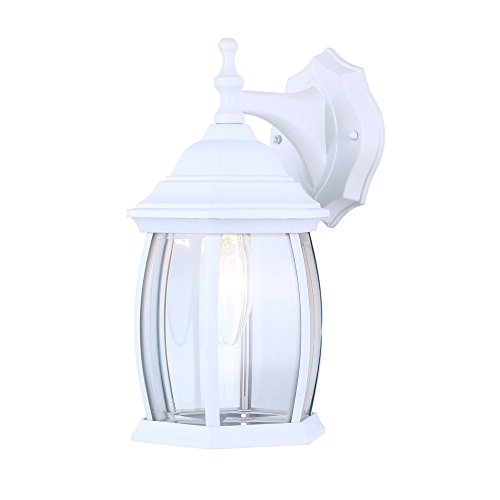 White Finish Outdoor Sconce - Exterior Outdoor Light Fixture Wall Lantern Sconce Clear Curved Beveled Glass, White Finish