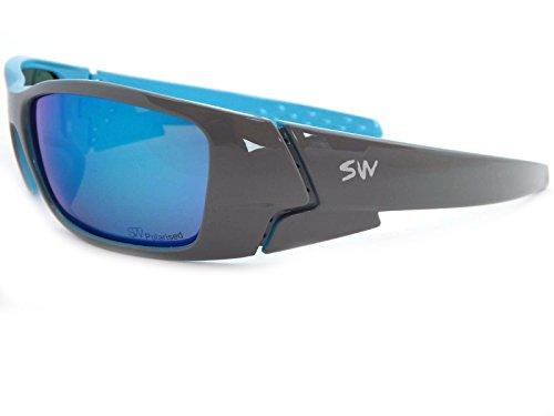 Sunwise Wild Lunettes de soleil Cadre noir satiné et bleu Verres miroir DLw6zWh