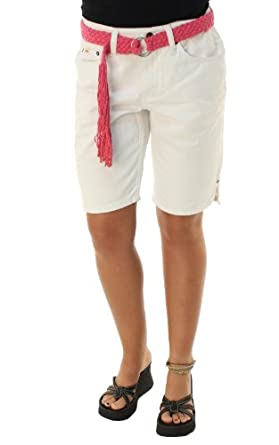 White Denim Knee Length Shorts
