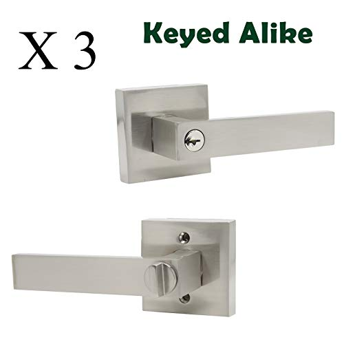 Probrico (3 Pack) Keyed Entry Lever Combo Pack, Keyed Alike Entrance Lock in Nickel Finish, Heavy Duty Lock Set Exterior Hardware for Front Door - Stainless Entrance Steel