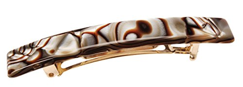 France Luxe Luxury Rectangle Barrette, Onyx - Classic French Design for Everyday Wear