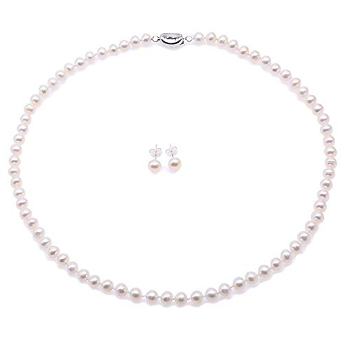 - JYX Pearl Necklace Set AA+ 6-7mm Natural White Freshwater Cultured Pearl Necklace and Earrings Set for Women