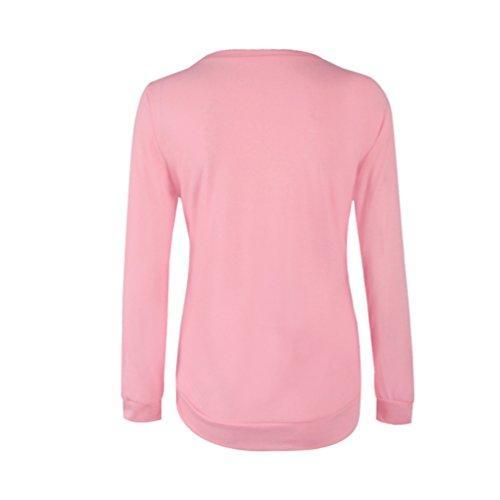 WanYang Mujer Manga Larga Camiseta Impresión Flores de la Flojas Blusa del Fuera Top Camiseta de las Tapas Rosado