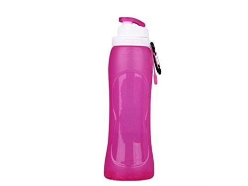 Yunqir Flexible 500ml Folable Water Bottles Collapsible Flexible Reuable Water Bottle for Hiking Adventures Traveling (Rosy) by Yunqir