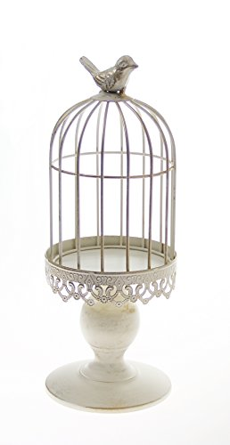 Classic Candle Stand - White Bird Cage