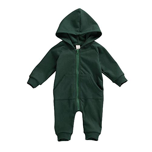 FYBITBO Infant Baby Boys Girls Clothing Zipper Hooded Jumpsuit Romper Long Sleeve Onesie Outfit Fall Winter Warm Clothes