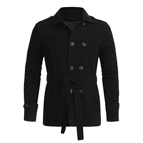 Coat White Double Breasted Knots - Sunhusing Men's Slim Fit Solid Color Long Sleeve Double-Breasted Belt Windbreaker Trench Coat Outwear