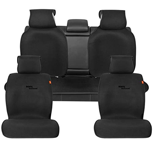 (Sojoy Four Seasons Universal Full Set of Car Seat Cushion Covers Advanced Material (Black) )