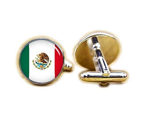 (Beautiful Dandelion Flag of Mexico Cufflinks, Mexican Flag Cufflinks, Patriot Cufflinks)