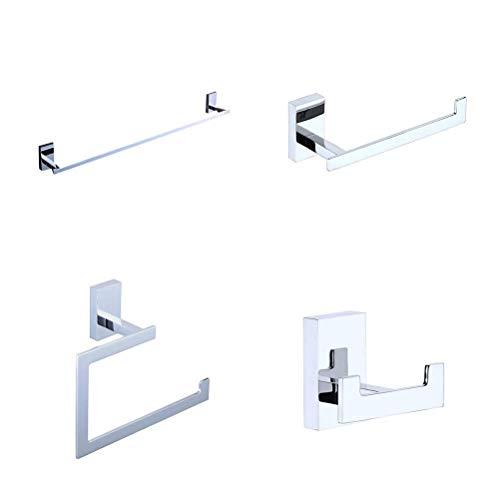 Bathroom Accessories Set 4-Piece, Solid Brass Towel Bar Holder Bath Hardware Accessory Set Chrome Finish