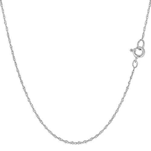 14K Yellow or White Gold .70mm Shiny Classic Rope Chain Necklace for Pendants and Charms with Spring-Ring Clasp (16