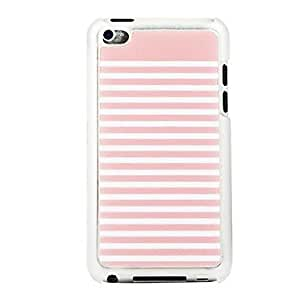 JJE Pink and White Striped Leather Vein Pattern PC Hard Case for iPod touch 4