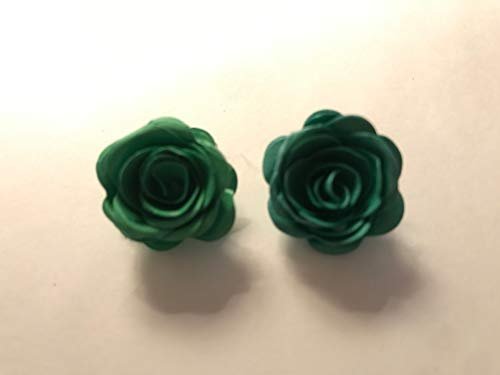 - Emerald Green Quilled Rosettes Clip on Earrings
