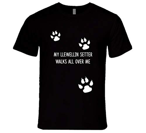 SHAMBLES TEES Llewellin Setter My Dog Walks All Over Me Dogs T Shirt L Black