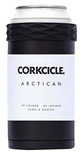 Corkcicle Arctican Stainless Steel Can Cooler for Drinks, 12-Ounce, Black