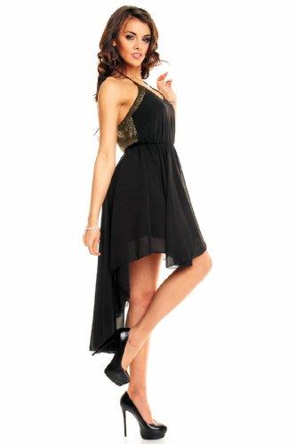71bb14cd0179 Sexy Vokuhila Chiffon Partykleid mit silbernen oder goldenen Pailletten,  schwarz Schwarz-Gold