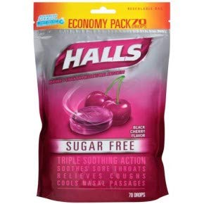 - Halls Sugar Free Menthol Cough Drops - Black Cherry - 70 Count Economy Pack