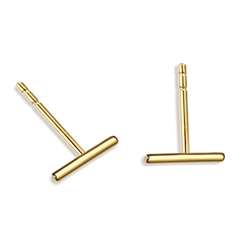 Minimalist 925 Sterling Silver Stud Earrings Gold Bar Earrings Line Earrings Simplify Stick Earrings (Gold Design Earrings)