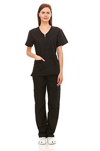 Denice-Womens-Medical-Uniforms-Mackenzie-Zip-Neckline-Nurses-Scrubs-Set-1054