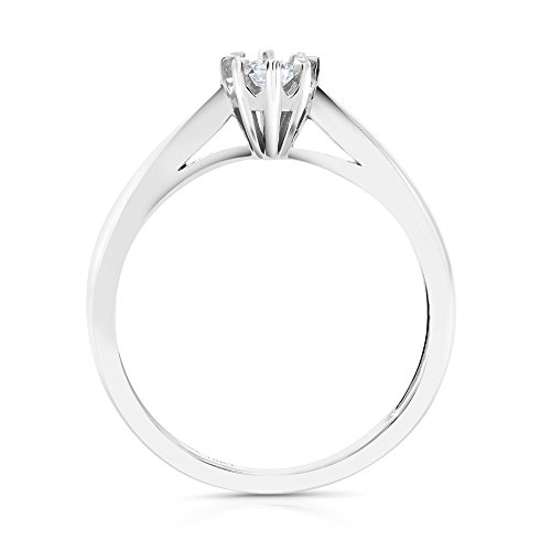 18K White Gold Round Diamond Solitaire Engagement Ring (0.15 Cttw, G/H Color, Available in size 5, 6, 7, 8, 9)