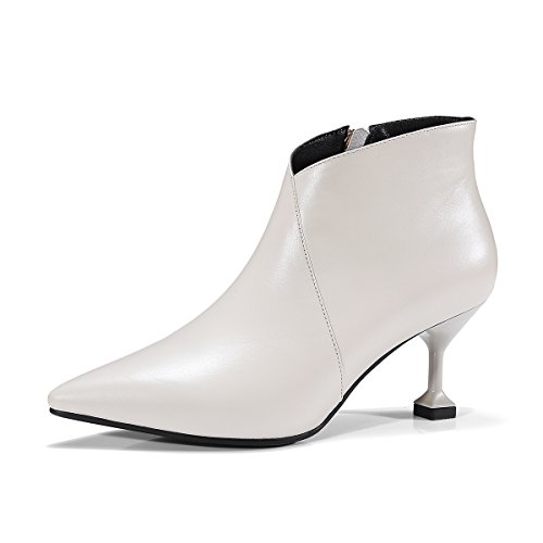 breve Donna scarpe Stiletto Tacchi caviglia amp;X stivali QIN Punta White Alti zPxT4qwp