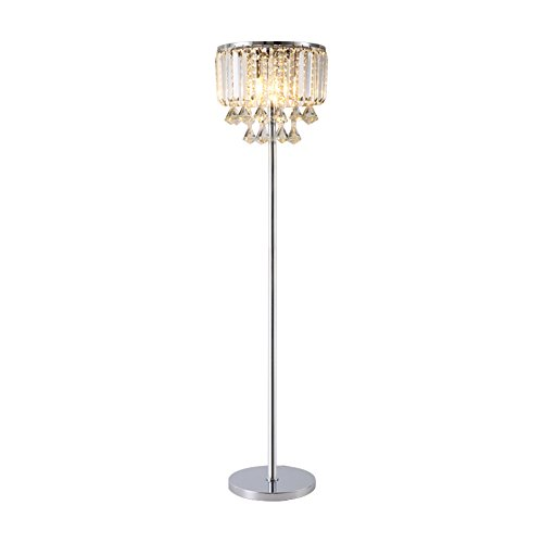Hsyile Lighting KU300171 Cozy Elegant Modern Creative Crystal Floor Lamp for Living Room,Bedroom,Office,Chrome Finish,3 Lights