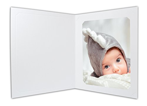 Golden State Art, Cardboard Photo Folder for 8x10/6x8 (Pack of 25) Cut corners GS010 White Color by Golden State Art