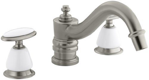 KOHLER K-T125-9B-BN Antique Deck-Mount High-Flow Bath Faucet Trim with Oval Handles, Requires Ceramic Handle Insets and Skirts, Valve Not Included, Vibrant Brushed Nickel