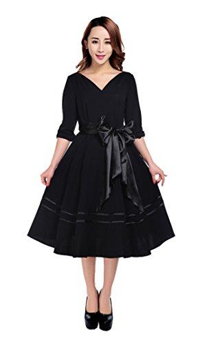 Vintage 40er 50er Trauer Kleid halblang zum Petticoat schwarz schlicht gothic