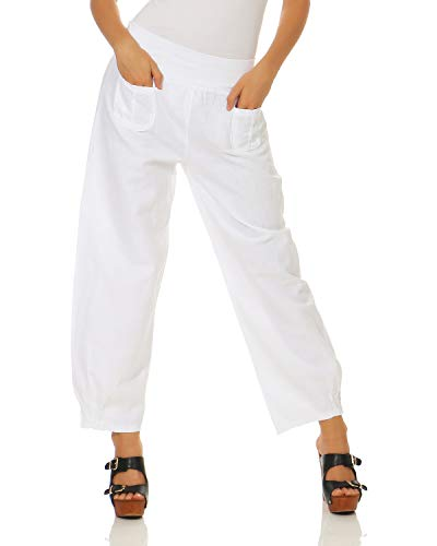Donna Pantaloni Zarmexx Casual Semplici Lino Bianco Di Da qXw15gBx