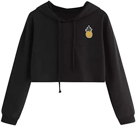 NOMUSING Women's Fashion Hoodie Appliques Pineapple Embroidered Sweatshirt Long Sleeve Pullover Crop Solid Tops Blouse
