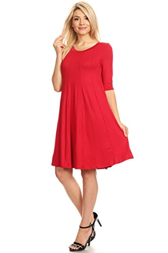 Comfy USA Sleeve Fit Casual in line Solid Loose Dress A Women's Made 3 Hdr00018 Midi Red 4 6dxqw5ndA0