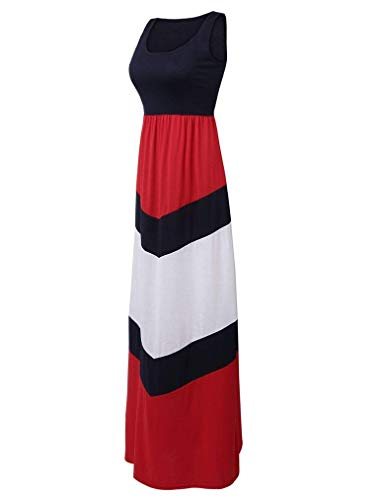 Demetory Women`s Chevron Zig Zag Striped Tank Top Maxi Dress (Small, 1214 Red 2) -